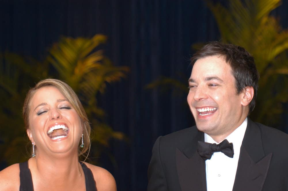 Jimmy Fallon and wife Eve Mavrakis share a laugh at the White House Correspondents Association Dinner May 1, 2010 in Washington, D.C.