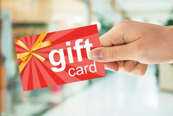 Holding gift card
