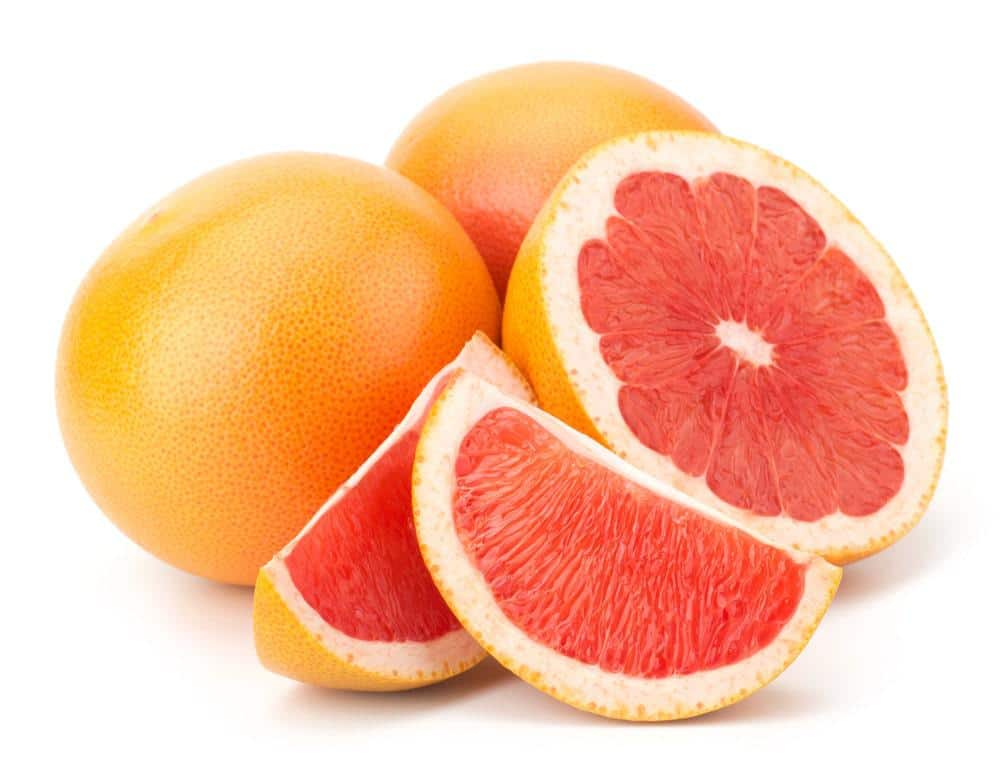 Several red grapefruits