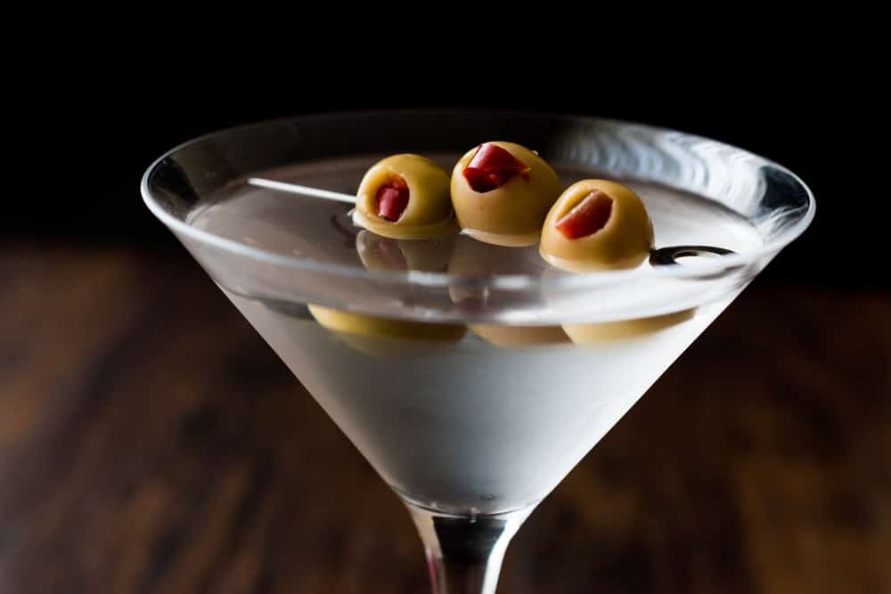 Classic Dry Martini with olives.