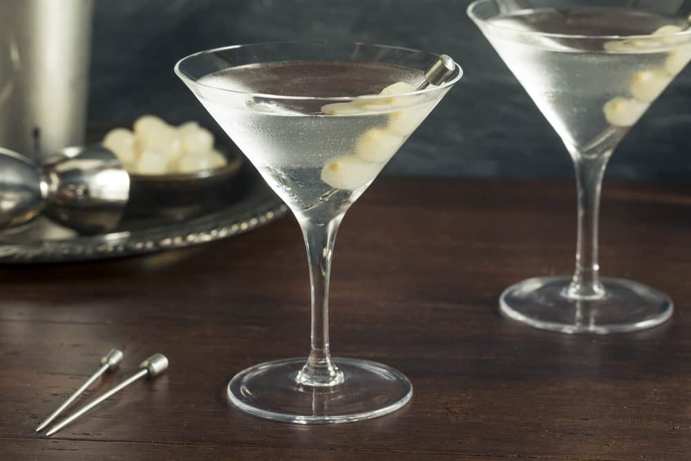 Homemade Boozy Gibson Martini with Cocktail Onions.