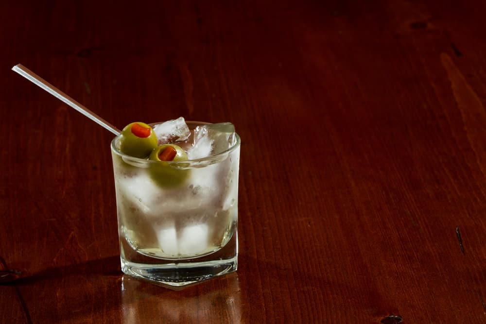 Golf Martini on the rocks with olives.