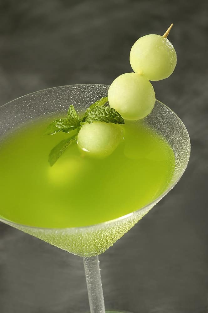 Martian Martini with melon balls garnish.