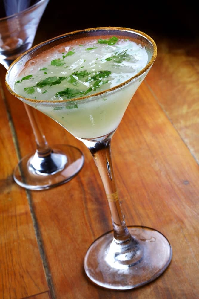 Mint Martini with mint leaves on top.