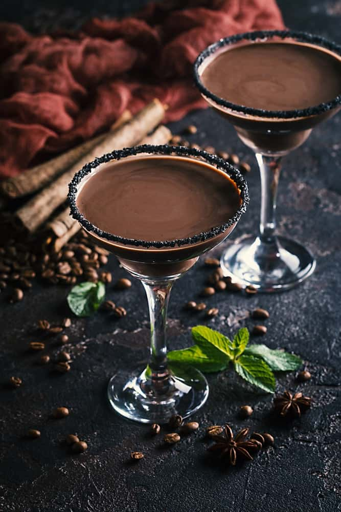 Mocha Martini with chocolate bits on the glass rim.