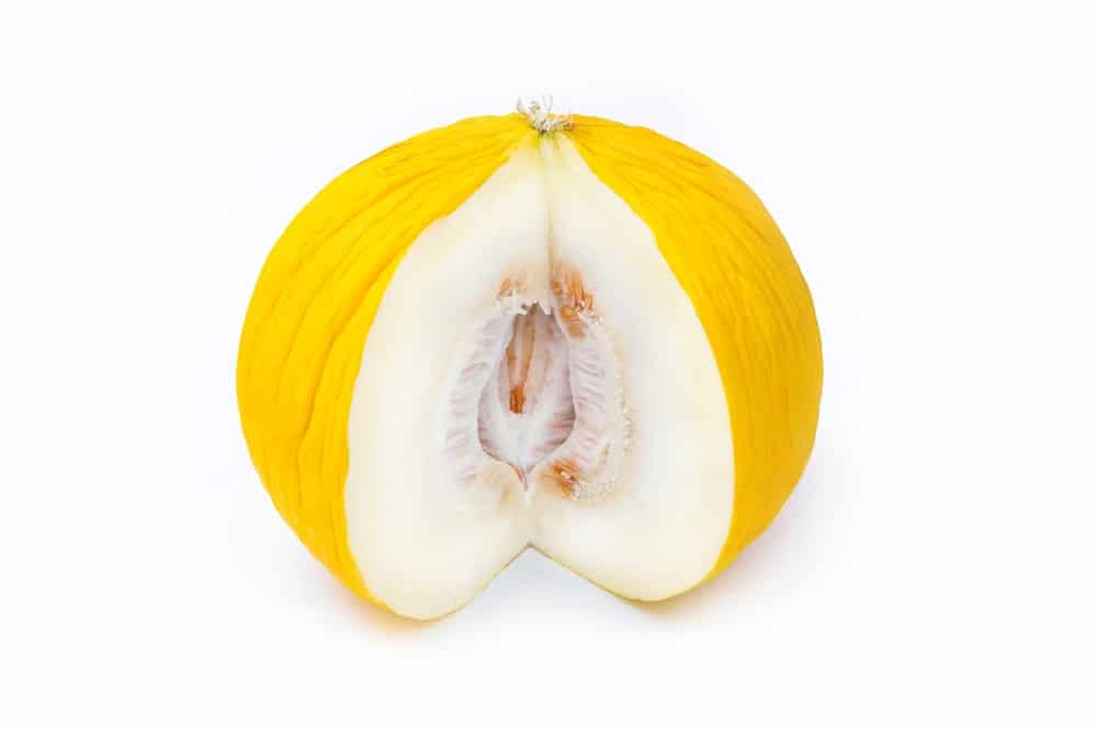 A ripe sliced Casaba Melon with white flesh.