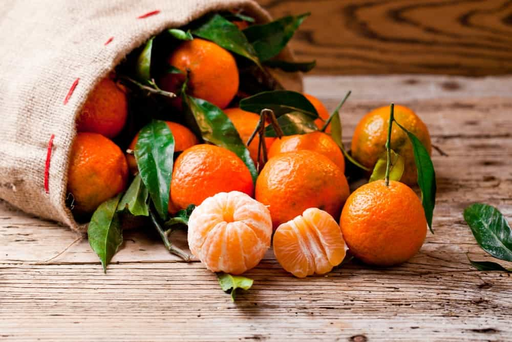 Mandarins spilled from a sack.