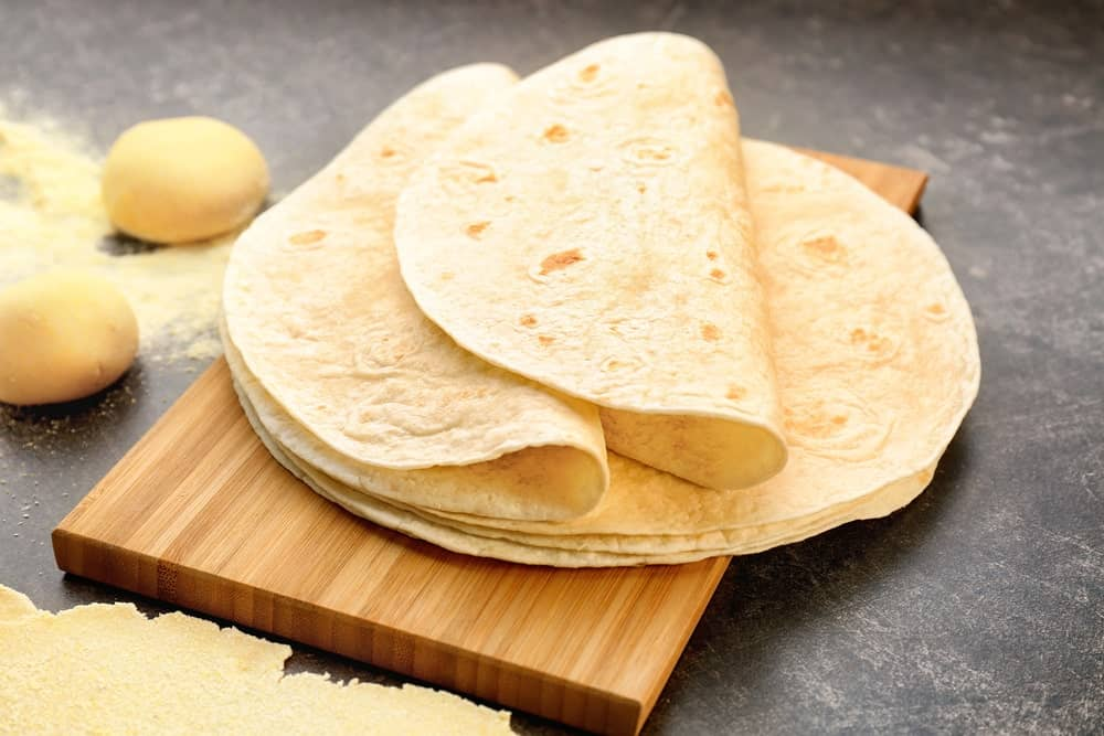 Flour Tortilla on a chopping board