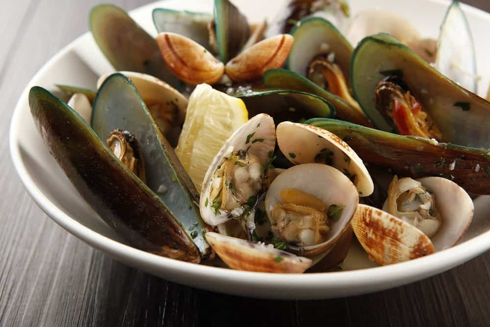 Assorted shellfish on a dish.
