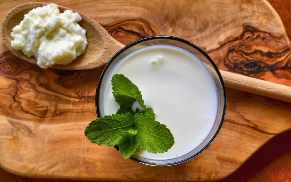 A glass of drinkable kefir yogurt garnished with mint next to a wooden spoon of kefir grains.