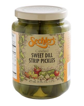 A screenshot of the displayed candied sweet dill strip pickles of Sechler's.