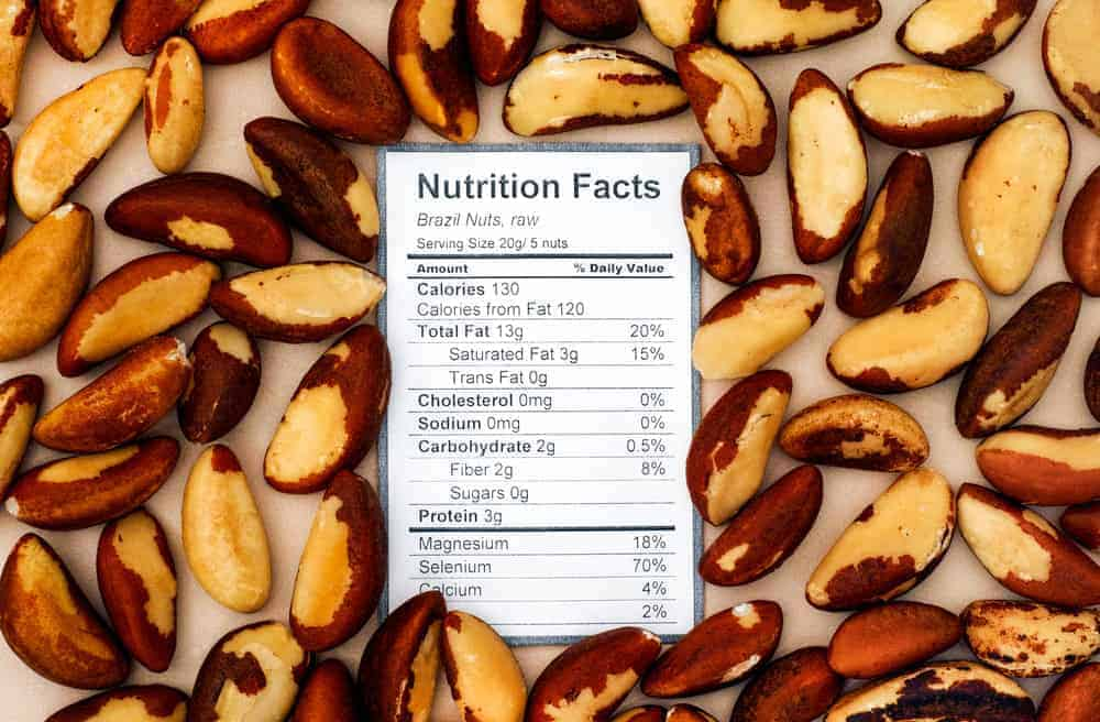 Brazil nut nutritional facts chart.