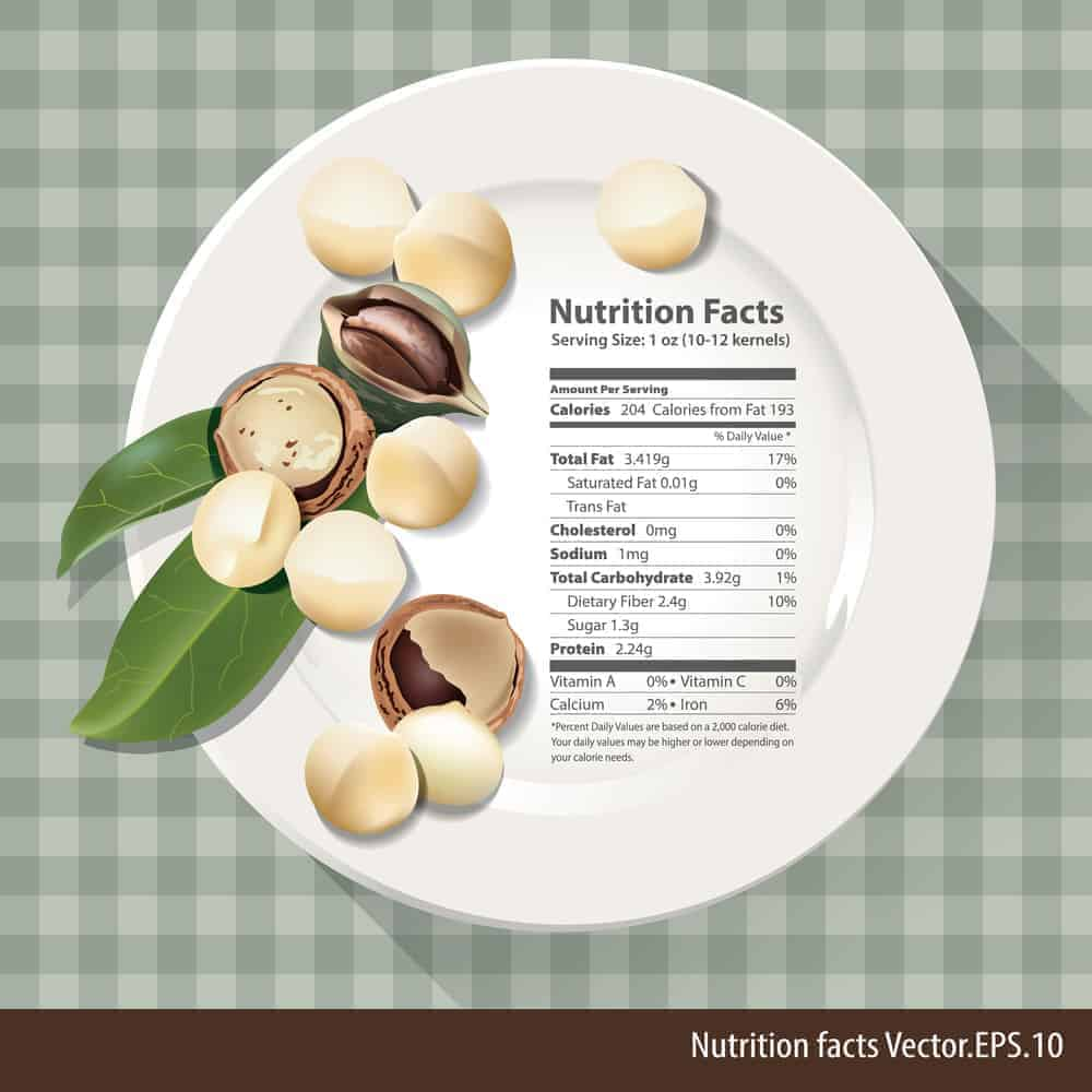 Macadamia nut nutritional facts chart.
