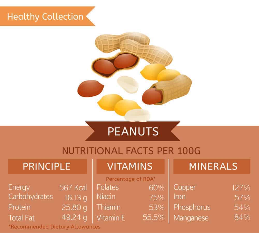 Peanut nutritional facts chart.