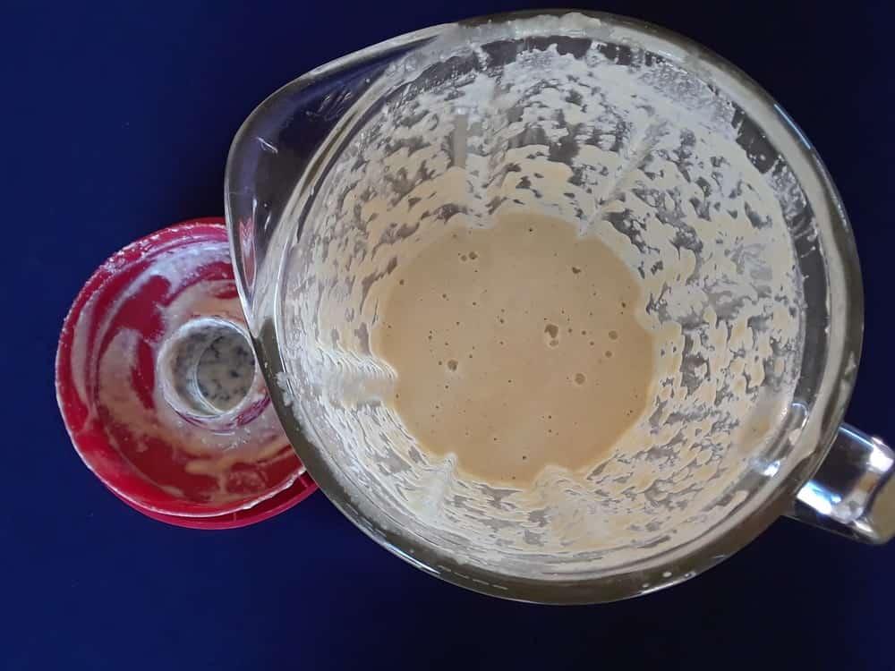 Blended cashew in a blender.