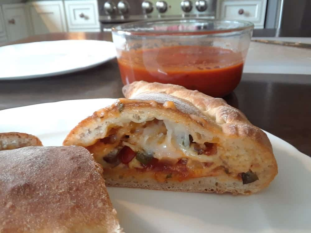 Vegan calzone ready for serving.