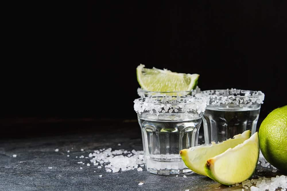 Shots of Silver Blanco Tequila.