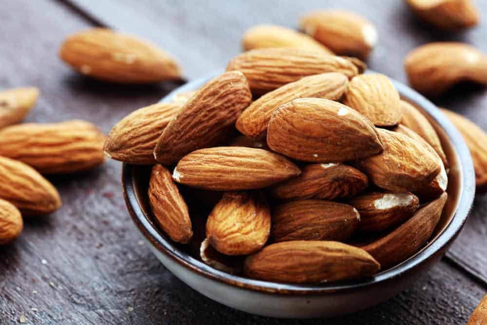 A bowl of almonds.