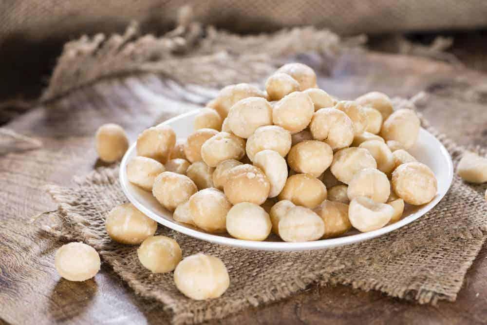 Bowl of macadamia nuts.