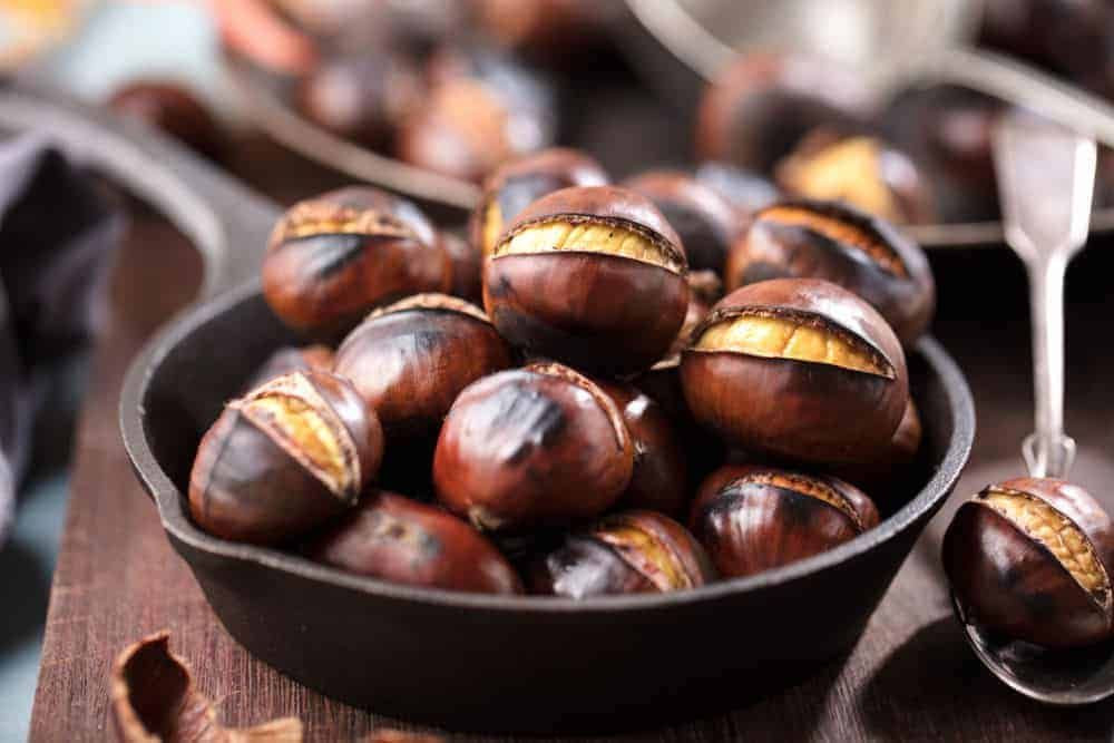 Bowl of roasted chestnuts.