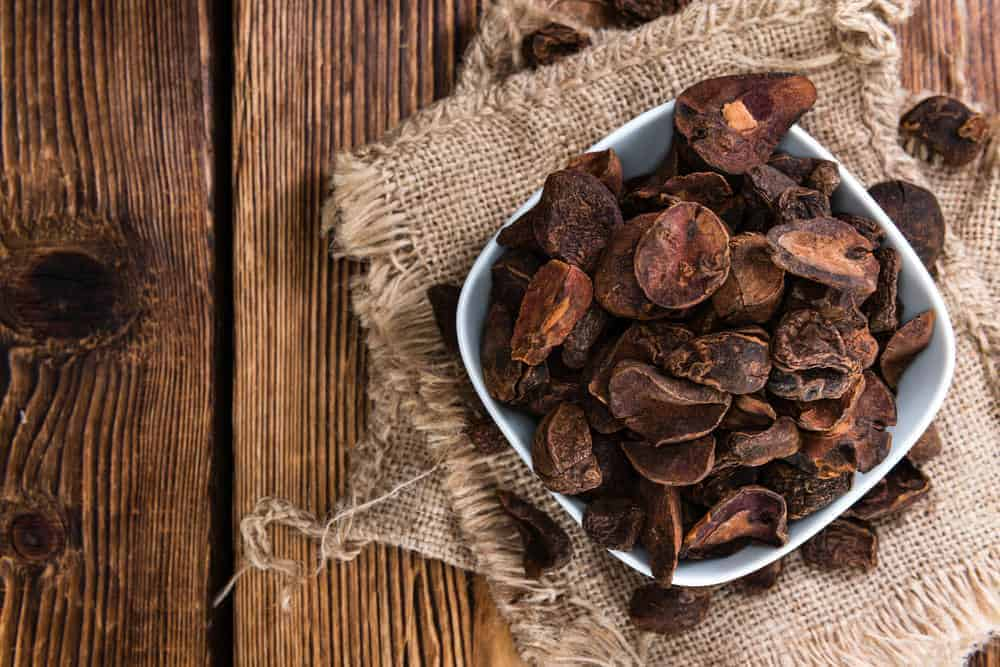 Bowl of dried kola nuts.