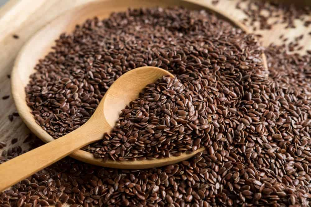 Bowl of flaxseeds.