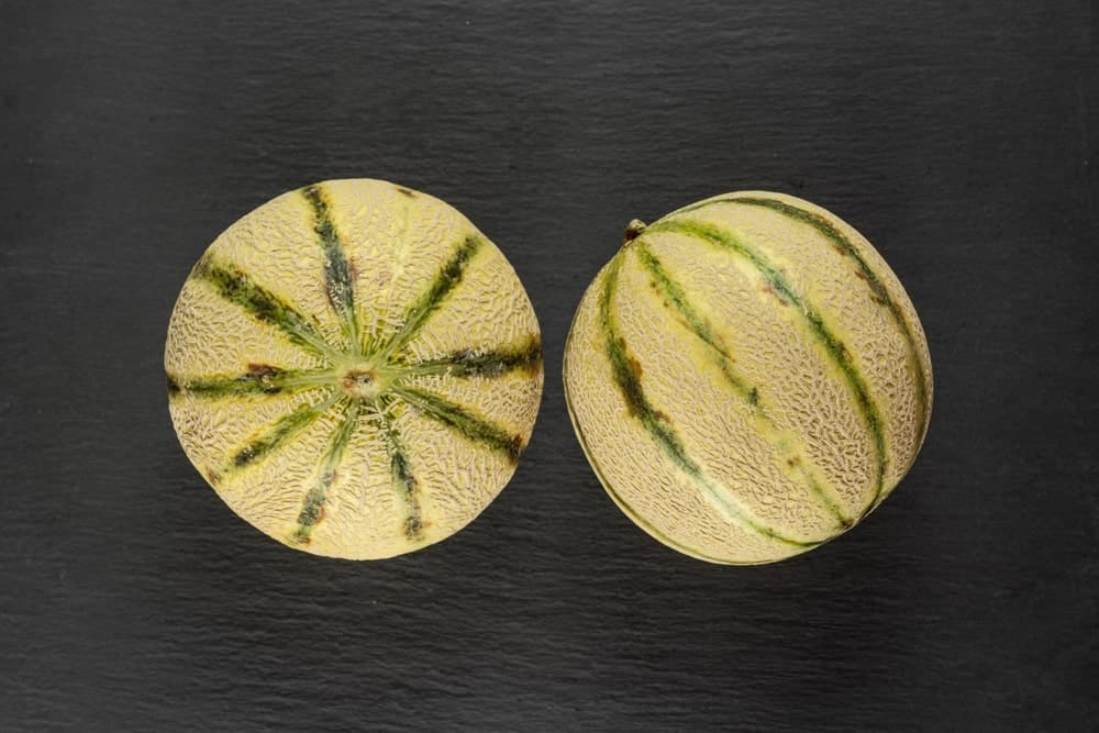 A couple of European cantaloupes on a dark surface.