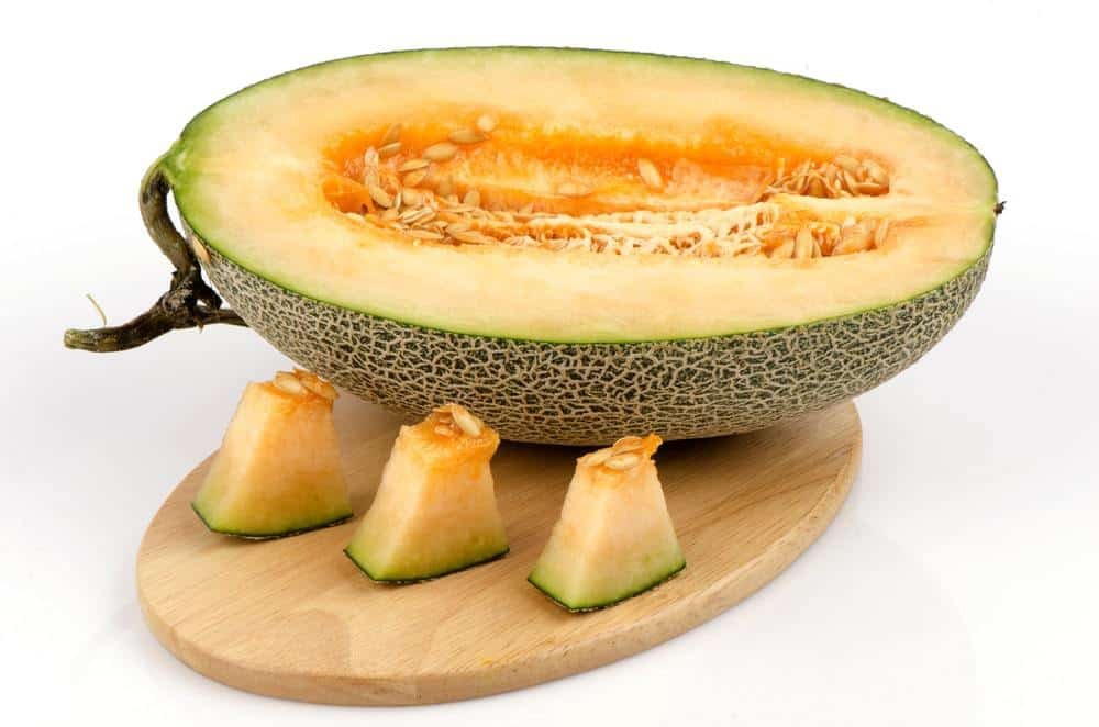 A look at a sliced fresh Asian Cantaloupe.