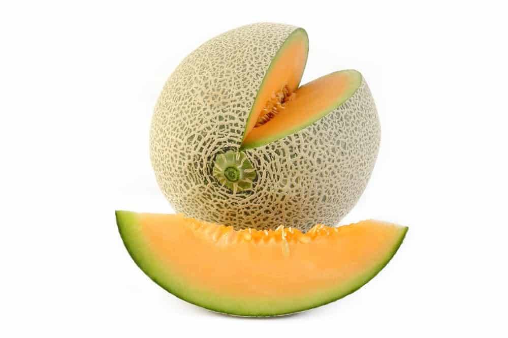 A look at a sliced piece of Japanese Cantaloupe.