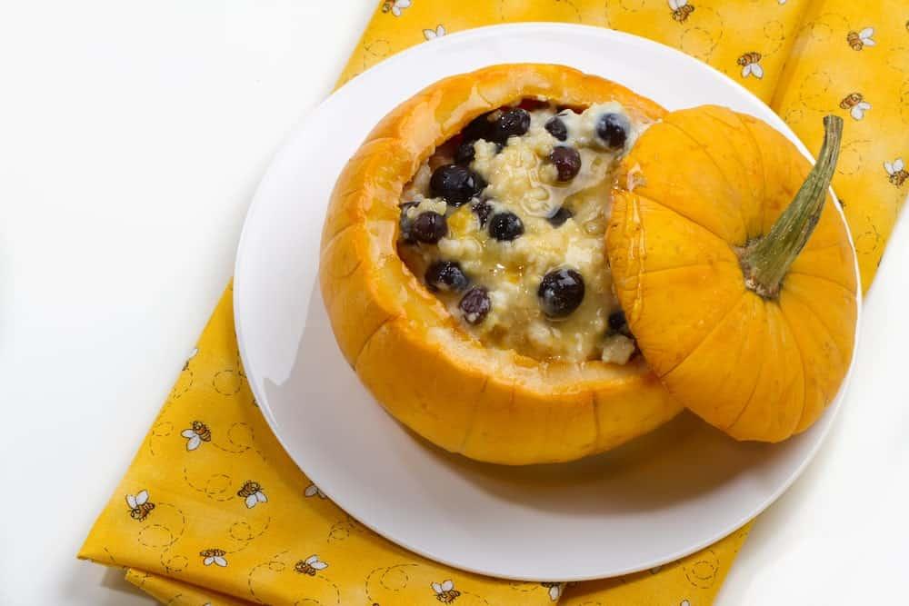 Sweet Millet porridge in a pumpkin with raisins.