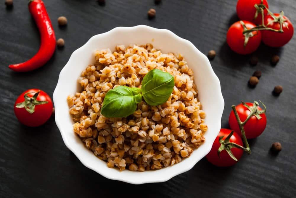 A healthy bowl of buckwheat kasha porridge.