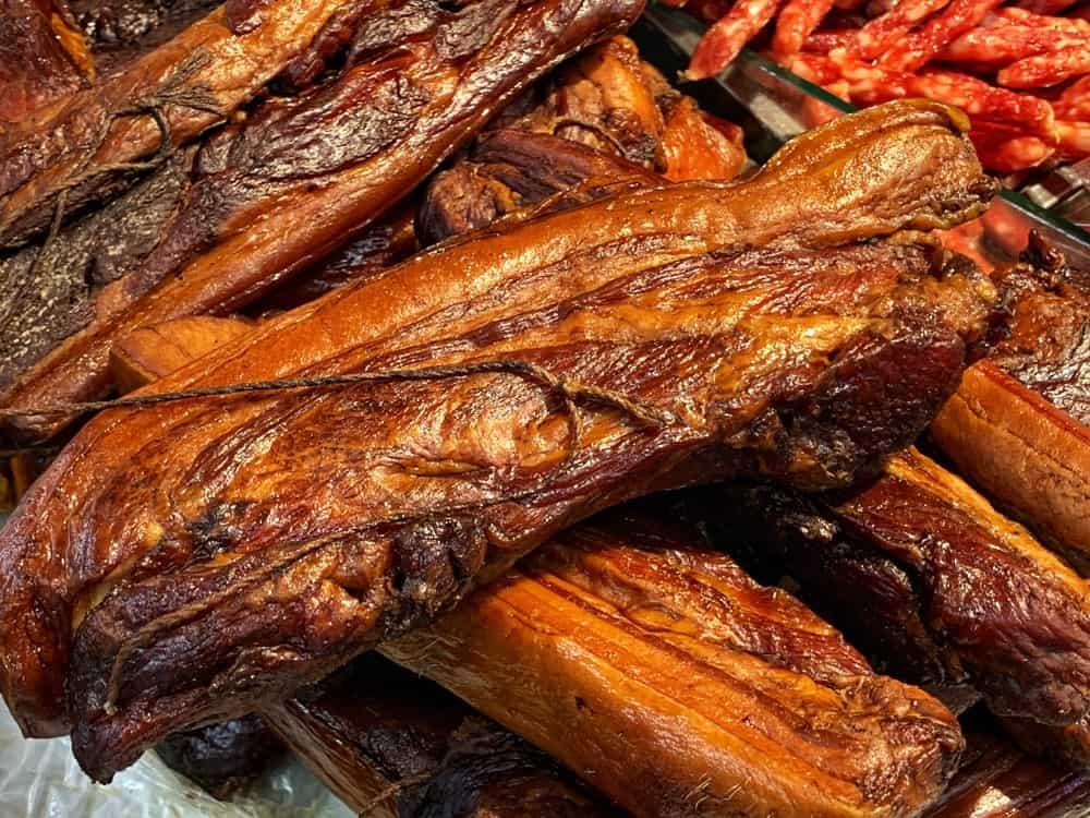 A close look at traditional lap yuk Chinese bacon.