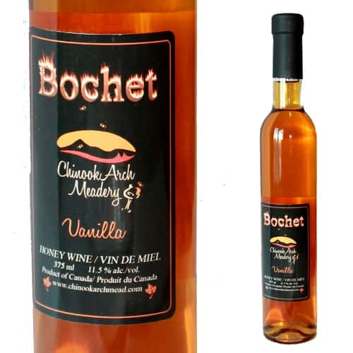 A bottle of vanilla bochet mead from Chinook Honey.