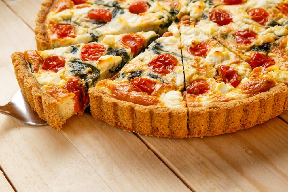 A close look at a vegetarian quiche with a kourou crust.