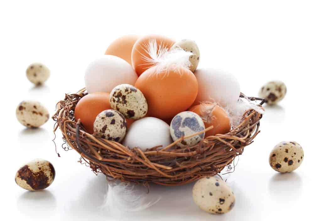 Various different eggs placed on a rustic nest basket.