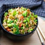 A bowl of freshly cooked vegan fried rice.