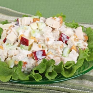 A plate of chicken salad with slices of apples and garnished with lettuce.