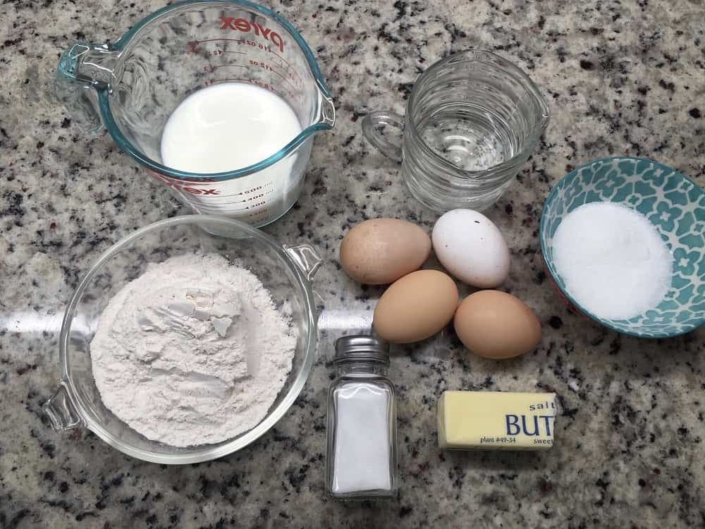 The complete set of ingredients for the batter.