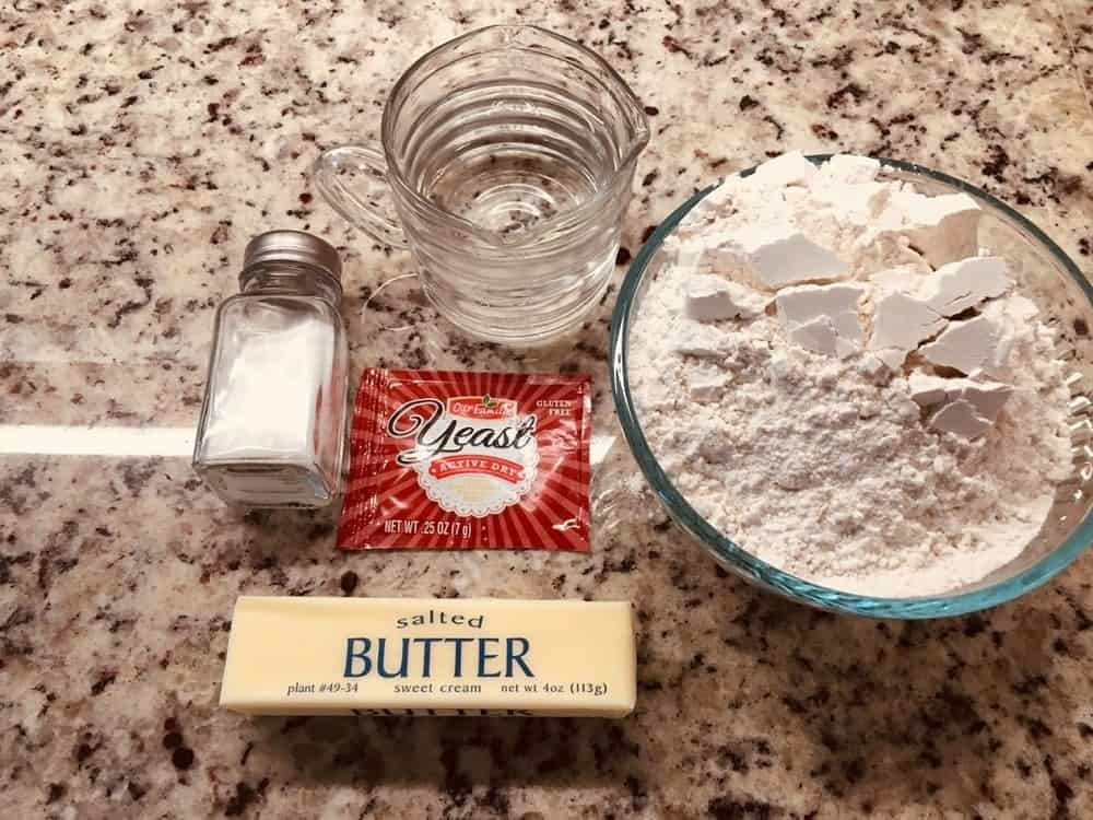 The complete set of ingredients for the bread.
