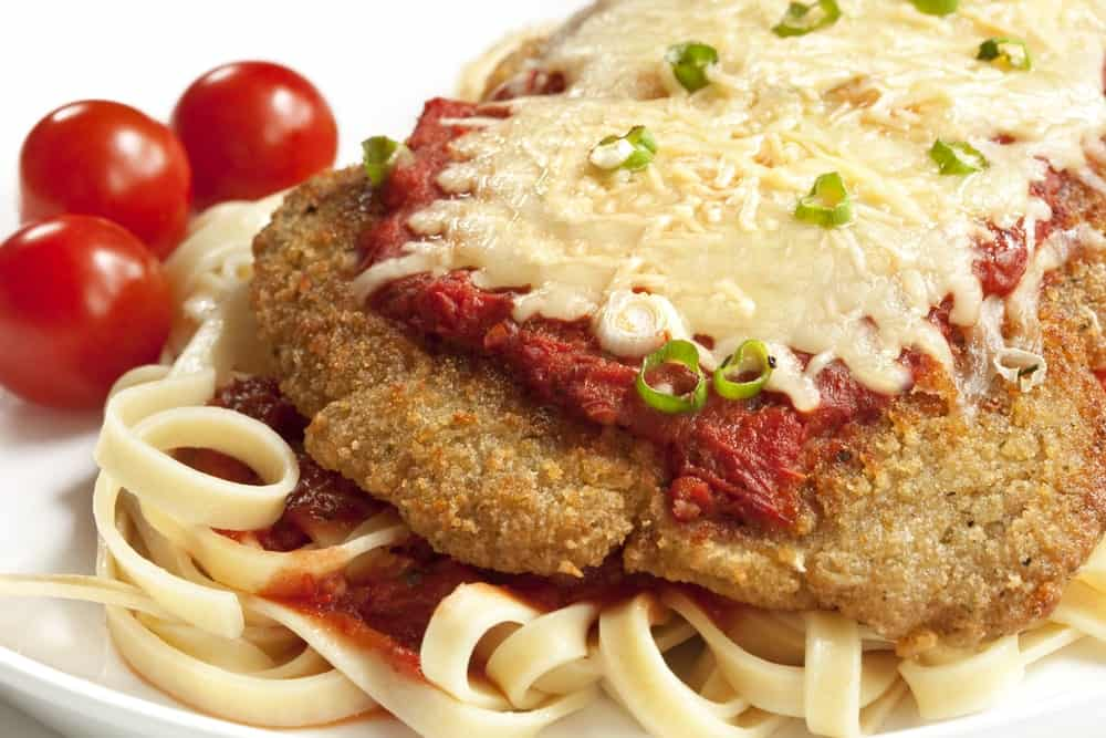 A plate of homemade chicken parmesan.