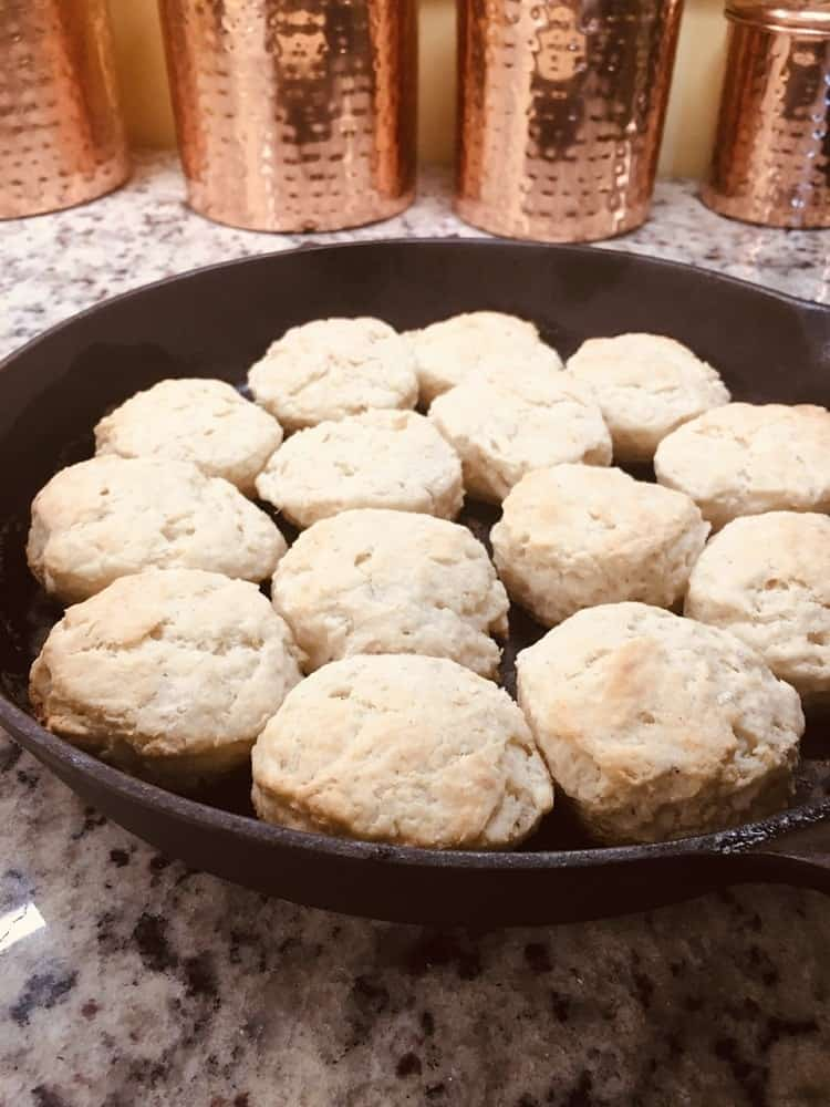 The baked biscuits fresh off the oven.