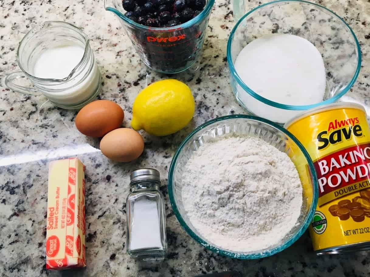 The complete set of ingredients for the cake.