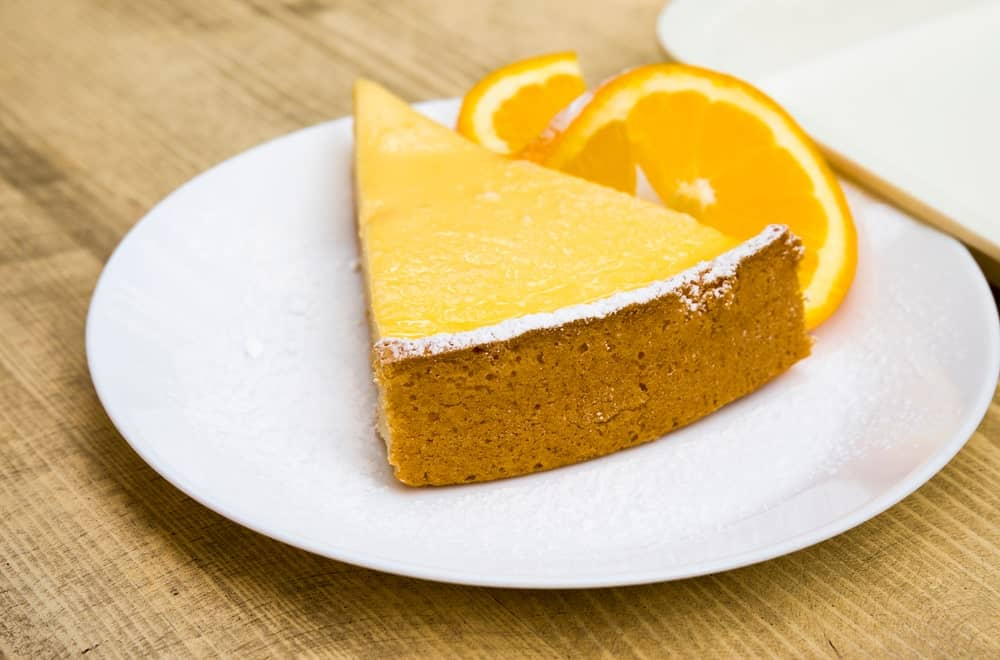 A look at a slice of orange creamsicle cheesecake.