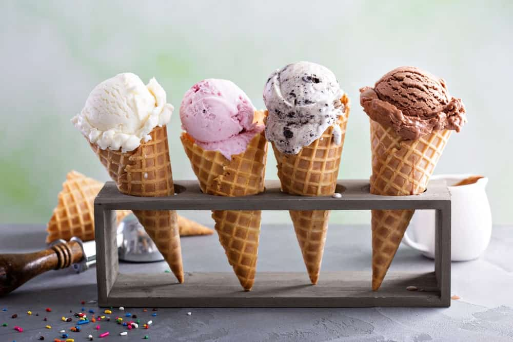 Dairy ice cream on sugar cones.