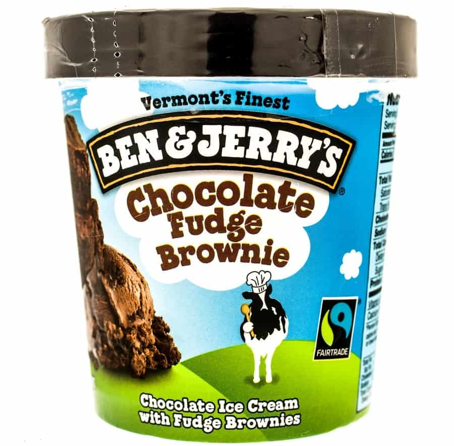 A pint of Ben and Jerry's Chocolate Fudge Brownie.