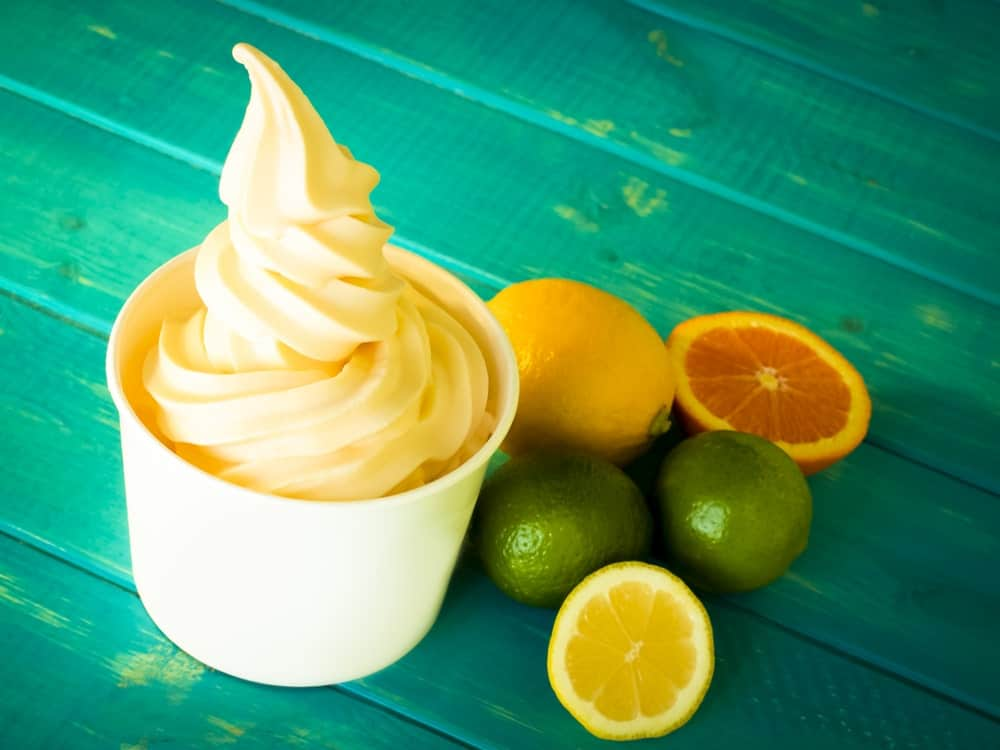 A cup of citrus sugar free ice cream.