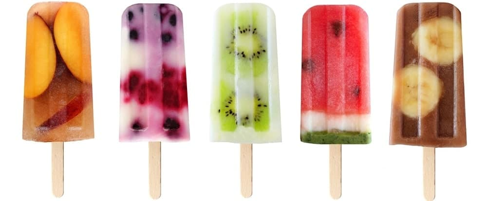 A row of homemade ice pops.