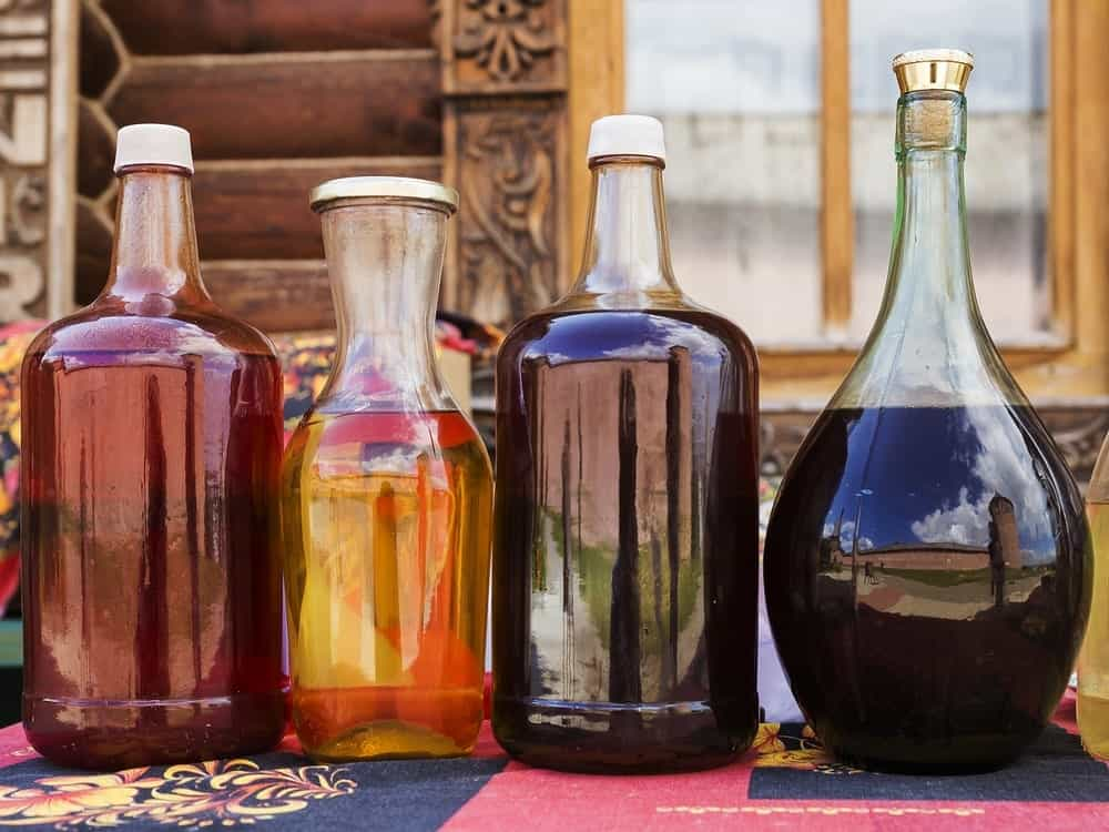 Various Russian mead in glass bottles.