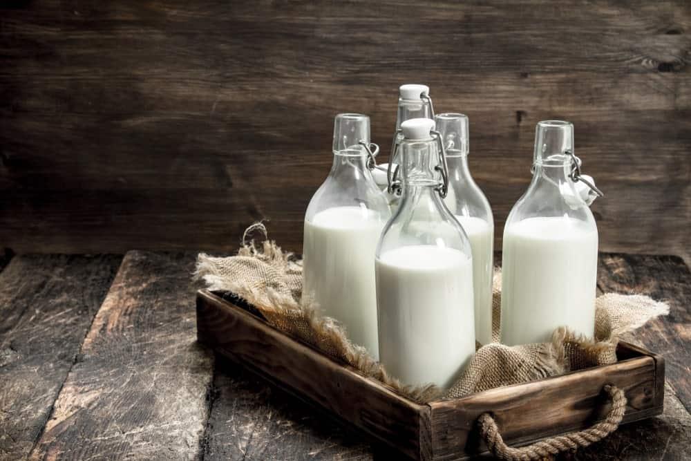 Glass bottles of organic milk.