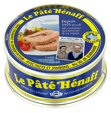 A close look at a canned pate Henaff.